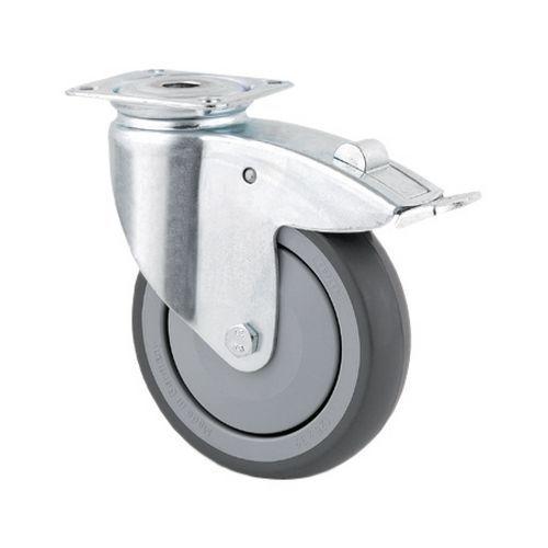 Rodízio giratório com placa e travão - Capacidade de 40 a 100 kg