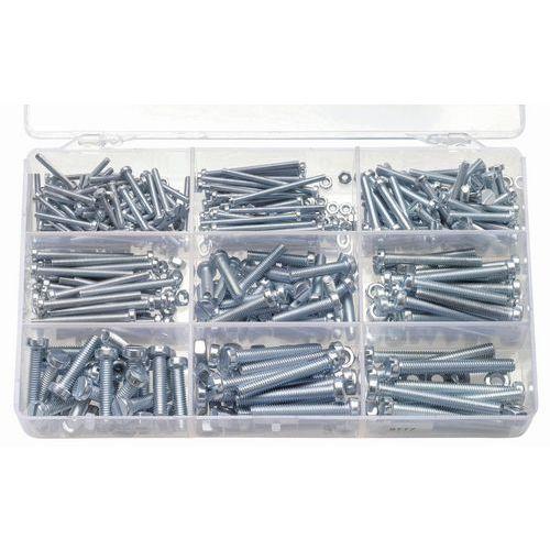 Caixa de parafusos de cabeça cilíndrica com fenda e porcas sextavadas - 550 peças