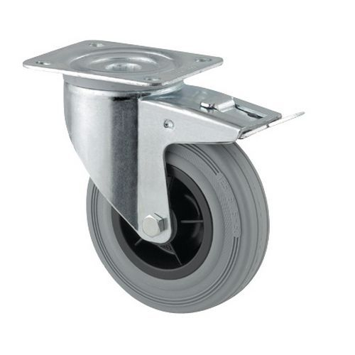 Rodízio giratório com placa e travão - Capacidade de 70 a 205 kg - Cinzento