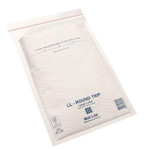 Envelope almofadado Kraft de 79g/m² com bolhas Mail Lite® Round Trip – reutilizável – branco