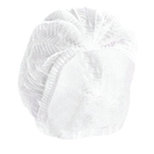 Touca de trabalho branca com fecho em acordeão – descartável - caixa de 100