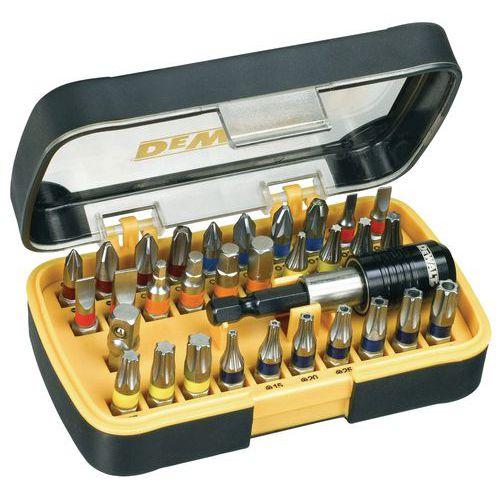 Caixa de 32 peças pontas e porta-pontas magnético