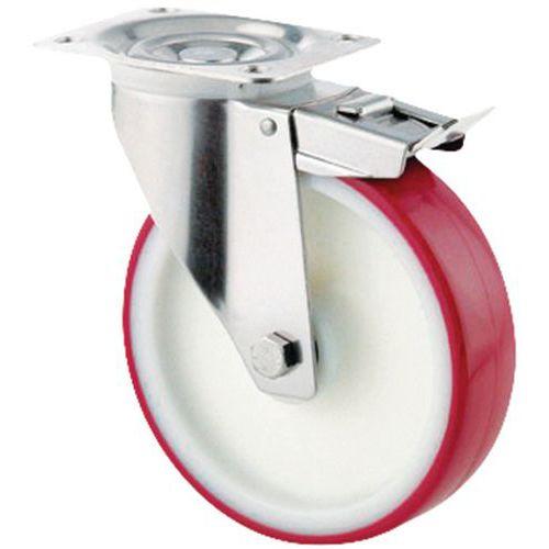 Rodízio giratório com placa e travão - Capacidade de 100 a 400 kg