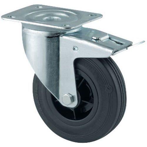 Rodízio giratório com placa e travão - Capacidade 70 a 295 kg