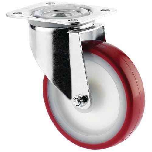 Rodízio giratório com base - Capacidade 100 a 350 kg