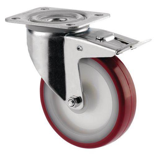 Rodízio giratório com base e travão - Capacidade 100 a 350 kg