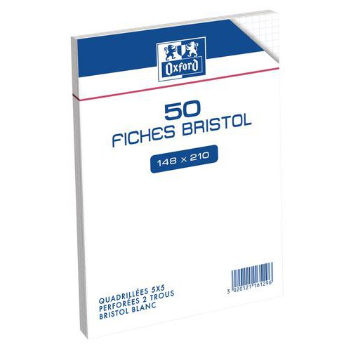 50 fichas de cartão bristol 210 g A5 perf. Q5 Oxford