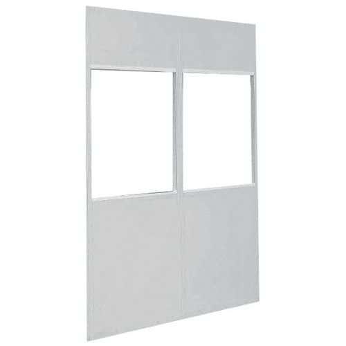 Divisória dupla parede em chapa de aço - Painel vidrado (4 mm) - Altura 2,75 m