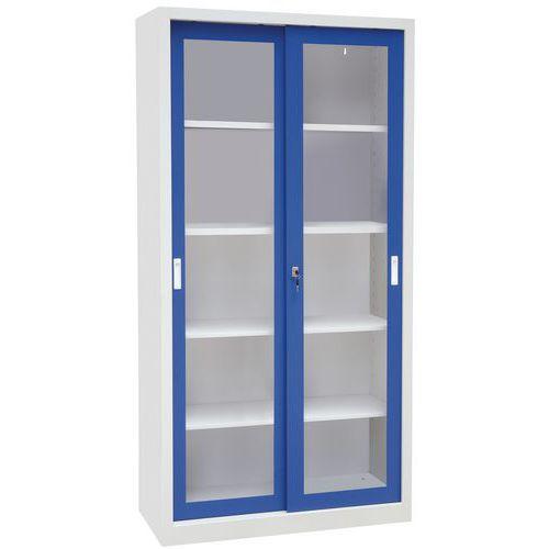 Armário alto monobloco com portas corrediças CH - Com vitrina - Largura 100cm - Manutan