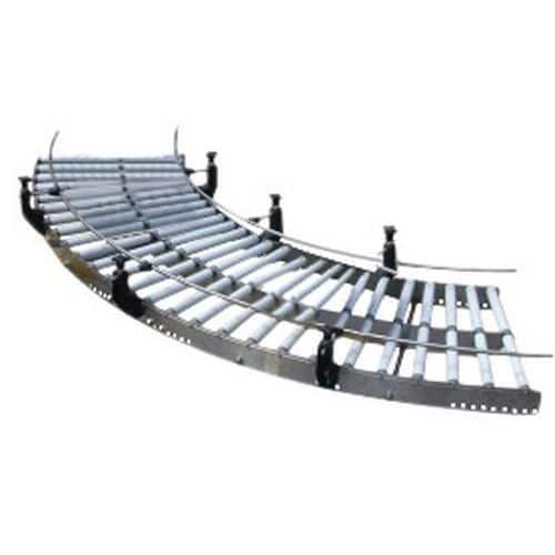 Curva de transportador gravítico em inox com rolos em PVC – Somefi