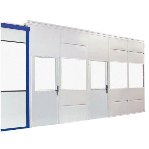 Divisória simples parede em chapa de aço - Painel vidrado - Altura 3,01 m