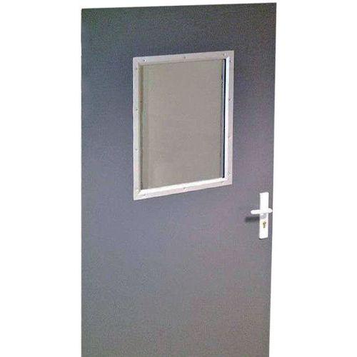 Porta rebatível para divisórias de oficina em chapa de aço ou melamina - Painel semividrado - Altura 2,5 m