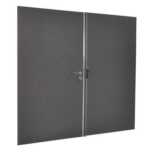 Porta rebatível para divisórias de oficina em chapa de aço ou melamina - Painel integral - Altura 3 m