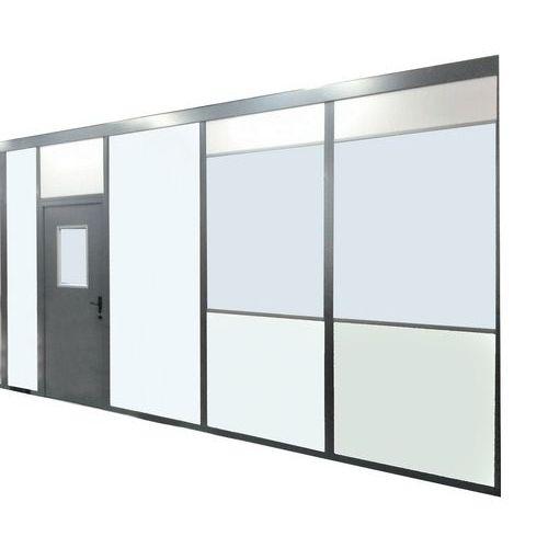 Divisória dupla parede em melamina - Painel semividrado (esp. 4 mm) - Altura 2.50 m