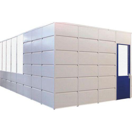Porta rebatível para divisórias de oficina em chapa de aço - Painel vidrado - Altura 2.51 m