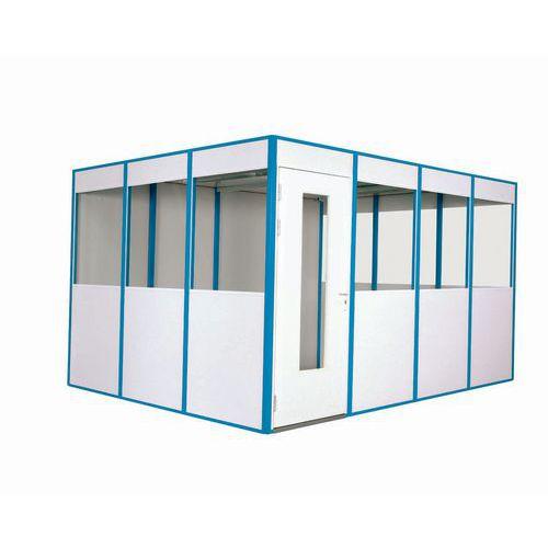 Cabina de parede simples em melamina - Pré-montada - Porta rebatível