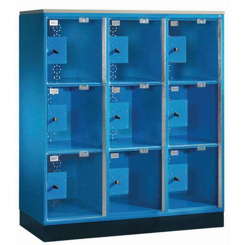 Cacifo com porta transparente com 9 a 12 compartimentos - 3 colunas de 400 mm de largura - Com base