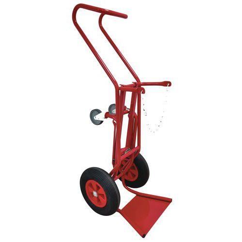 Transportador porta-garrafas com suporte em aço de 250kg – Rodas pneumáticas