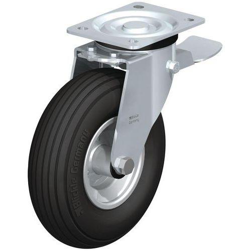 Rodízio giratório com placa e travão - Capacidade de carga de 75 a 250 kg