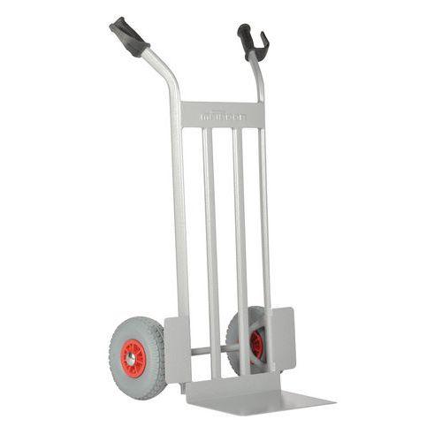 Transportador em aço com plataforma elevada – rodas antifuros – capacidade de 350 kg