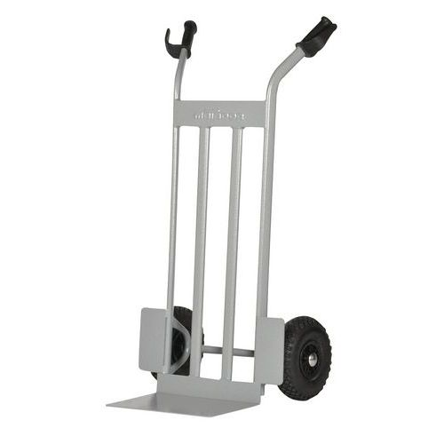 Transportador em aço com plataforma elevada – rodas pneumáticas – capacidade de 350kg