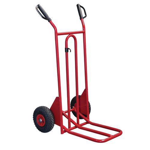 Porta-cargas em aço - Rodas pneumáticas - Aba dobrável - Capacidade de 250 kg