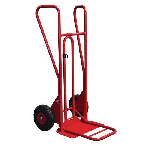 Porta-cargas em aço - Rodas pneumáticas - Aba fixa e dobrável - Capacidade de 250 kg