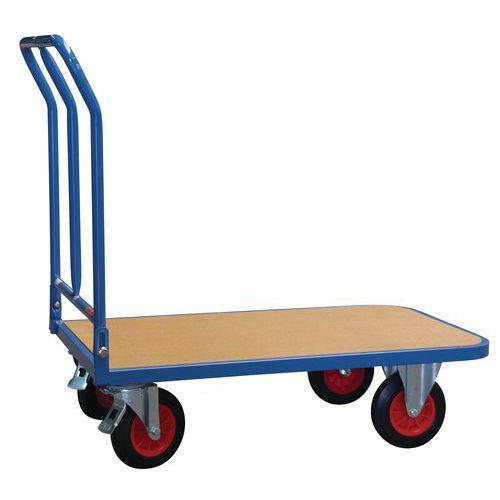 Carro plataforma madeira espaldar rebatível - Capacidade 400 kg