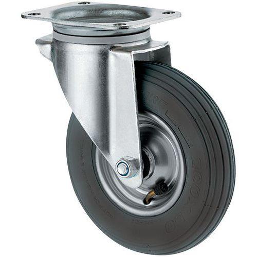 Rodízio giratório com placa - Capacidade de carga de 75 a 200 kg - Piso pneumática