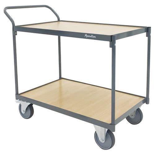 Carro com 2 plataformas em madeira - Capacidade de 250 kg - Barra vertical - Manutan