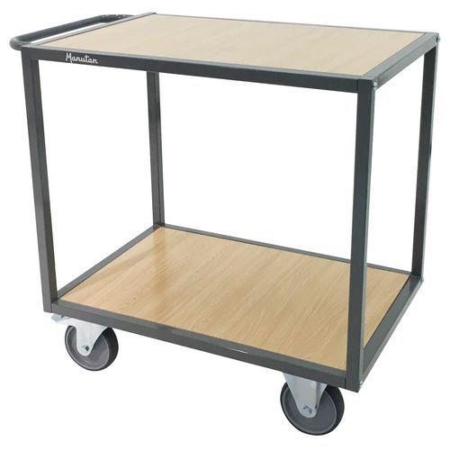 Carro com 2 plataformas em madeira – Capacidade: 500kg – Barra horizontal – Manutan