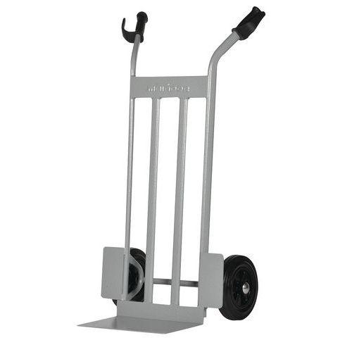 Transportador em aço com plataforma elevada de 350kg – Rodas em borracha