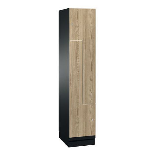 Cacifo com porta L de madeira - 2 a 6 compartimentos de 200 mm de largura - Com base