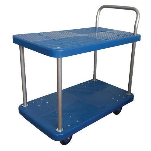 Carro em plástico - 2 plataformas - Capacidade: 150 kg