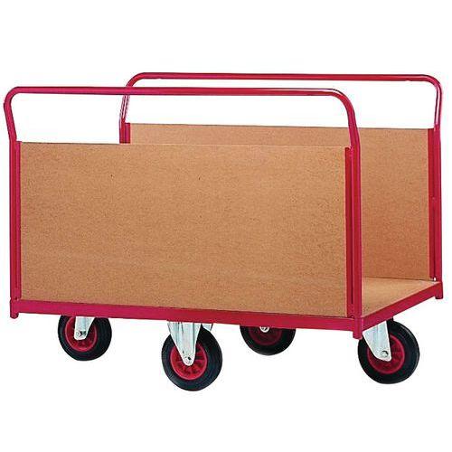 Carro com revestimento em painéis de madeira e rodas em losango - Capacidade 500 kg - 2 painéis