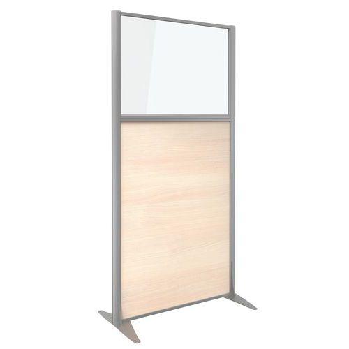 Divisória de separação KP+ - Em melamina com vidro - Altura 160 cm