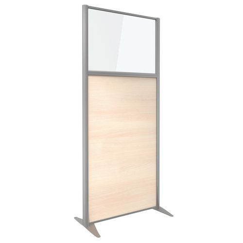 Divisória de separação KP+ - Em melamina com vidro - Altura 180 cm