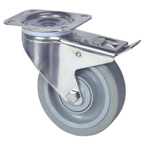 Rodízio giratório com placa e travão – Capacidade de carga de 160 a 400kg