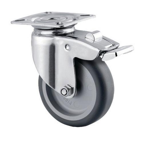 Rodízio giratório de olhal com placa e travão – Capacidade de carga de 60 kg