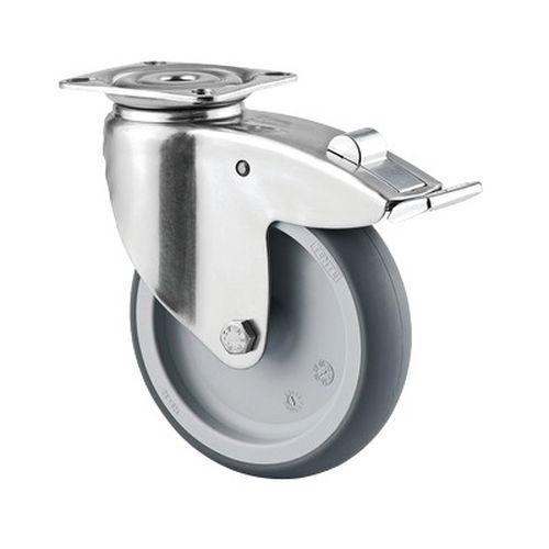 Rodízio giratório de olhal com placa e travão – Capacidade de carga de 100kg