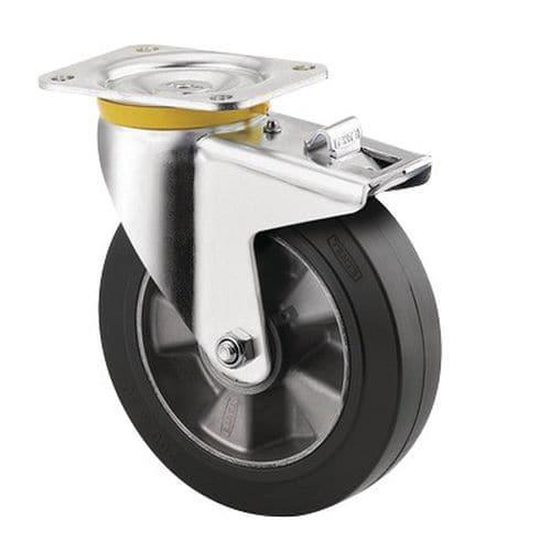 Rodízio giratório com placa e travão – Capacidade de carga de 300 a 500 kg