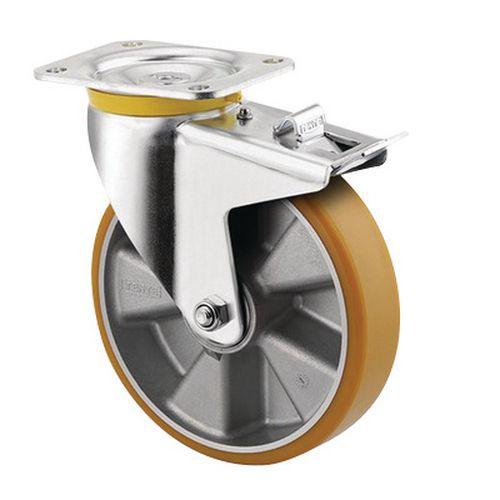 Rodízio giratório com placa e travão – Capacidade de carga de 500 e 800kg