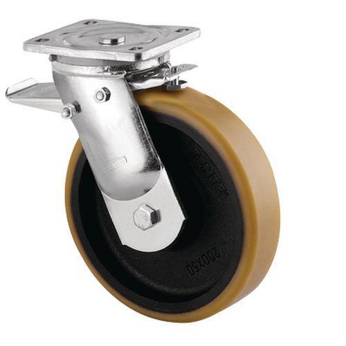 Rodízio giratório com placa e travão – Capacidade de carga de 550 a 2000kg