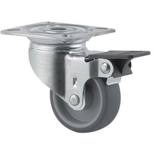 Rodízio giratório de olhal com placa e travão – Capacidade de carga de 40kg