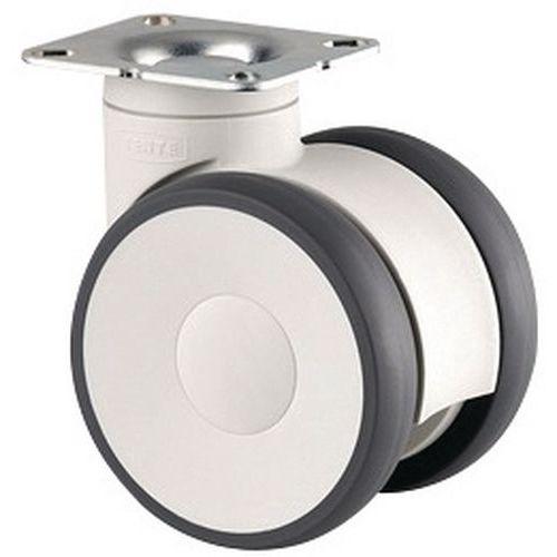 Rodízio giratório com placa – Capacidade de carga de 100 e 110kg