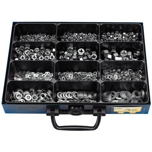Caixa de porcas hexagonais e anilhas planas em inox - 1700 peças