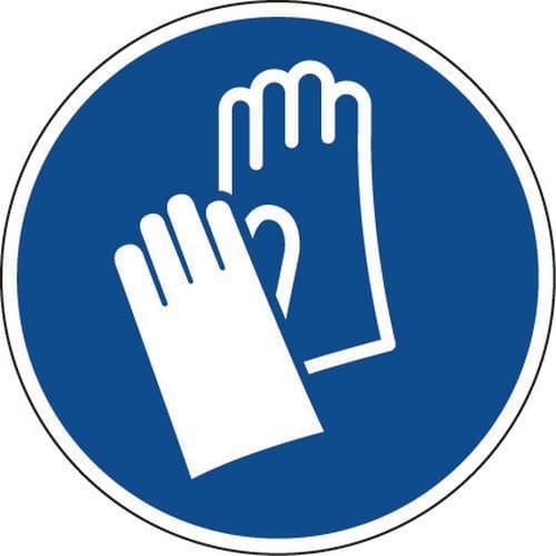 Painel de obrigação – Luvas de proteção obrigatórias – autocolante
