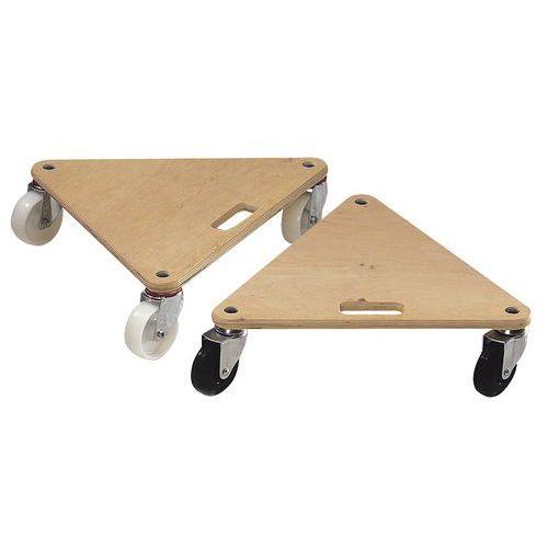 Plataforma móvel triangular em madeira - Acabamento bruto - Capacidade 225 e 300 kg