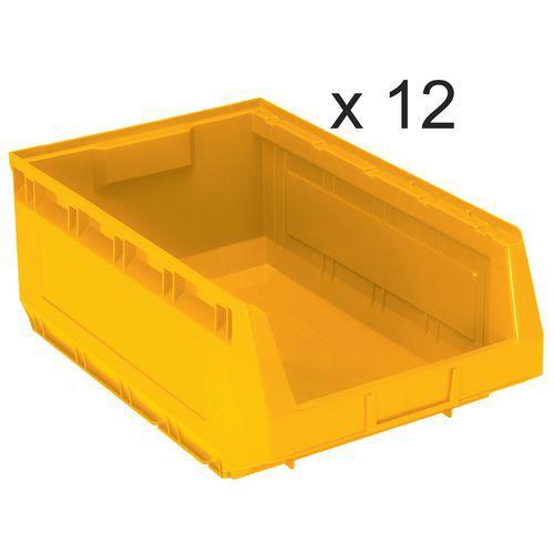 Conjunto de 12 caixas de bico Kangourou - Comprimento de 485 mm - 30 L - Manutan