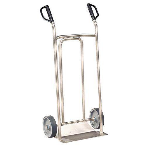 Transportador em inox – 250kg – Roda em borracha – Aba fixa